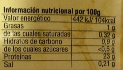 Pechuga de pollo - Información nutricional - es