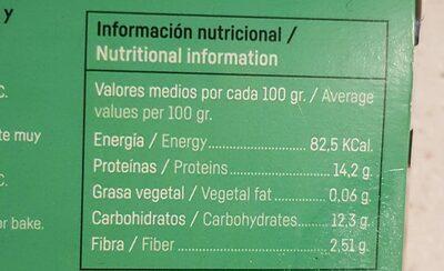 Hamburguesas vegetales de espinacas - Información nutricional