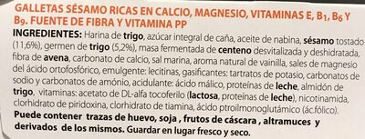 Galletas sésamo - Ingredientes - es