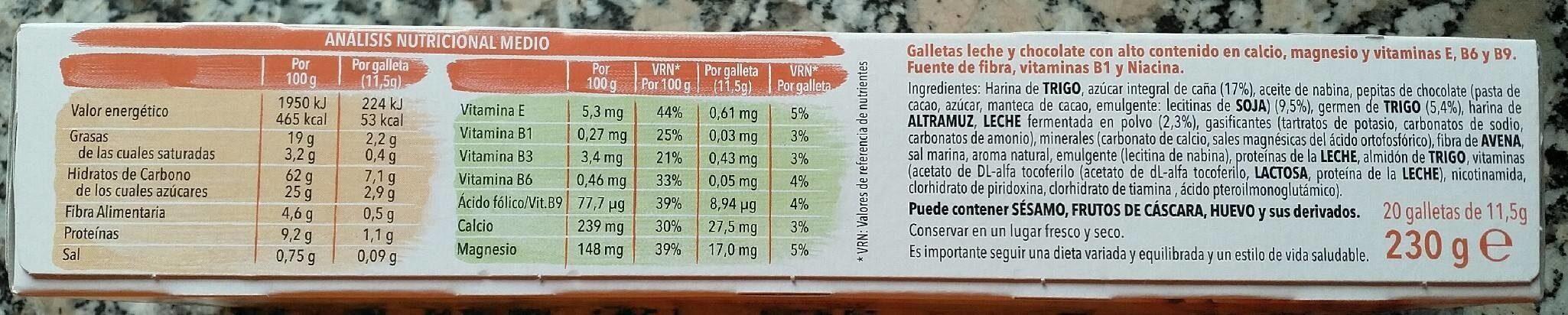 Galleta Gerblé Leche chocolate - Nutrition facts