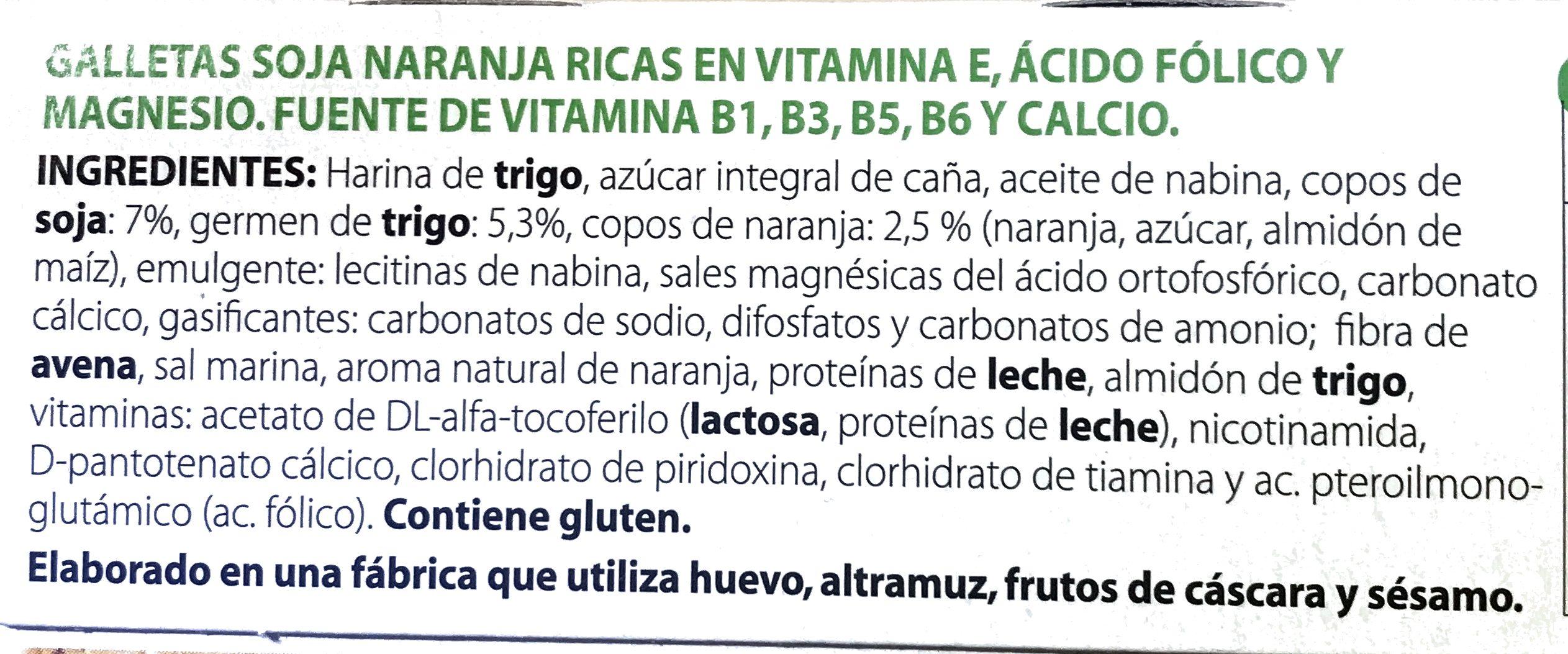 Galletas de soja y naranja - Ingredientes