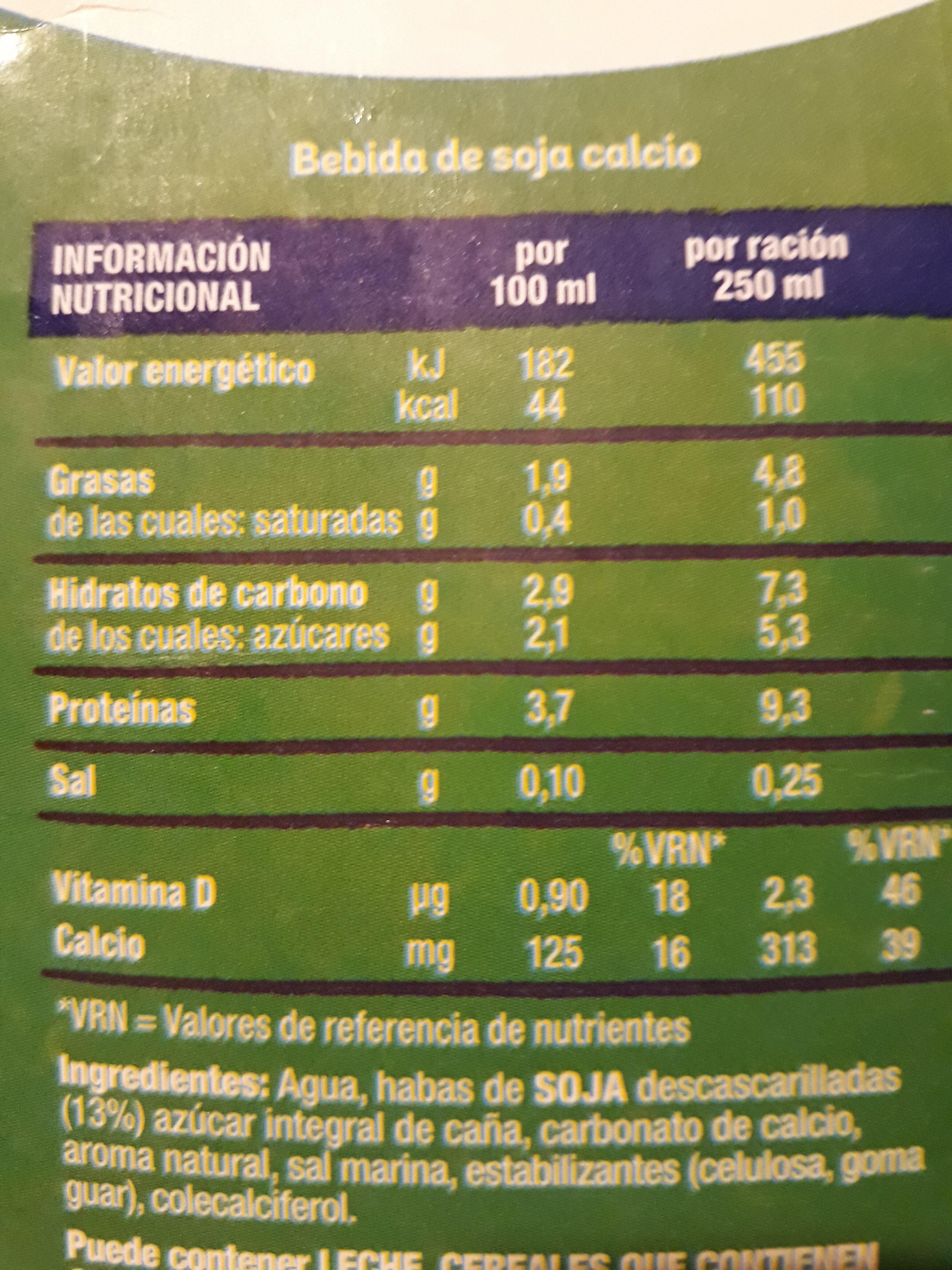 Soja calcium - Información nutricional - es