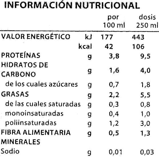Bebida de soja ecológica - Informació nutricional - es