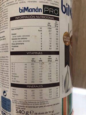 BiManán Pro Chocolate - Nutrition facts