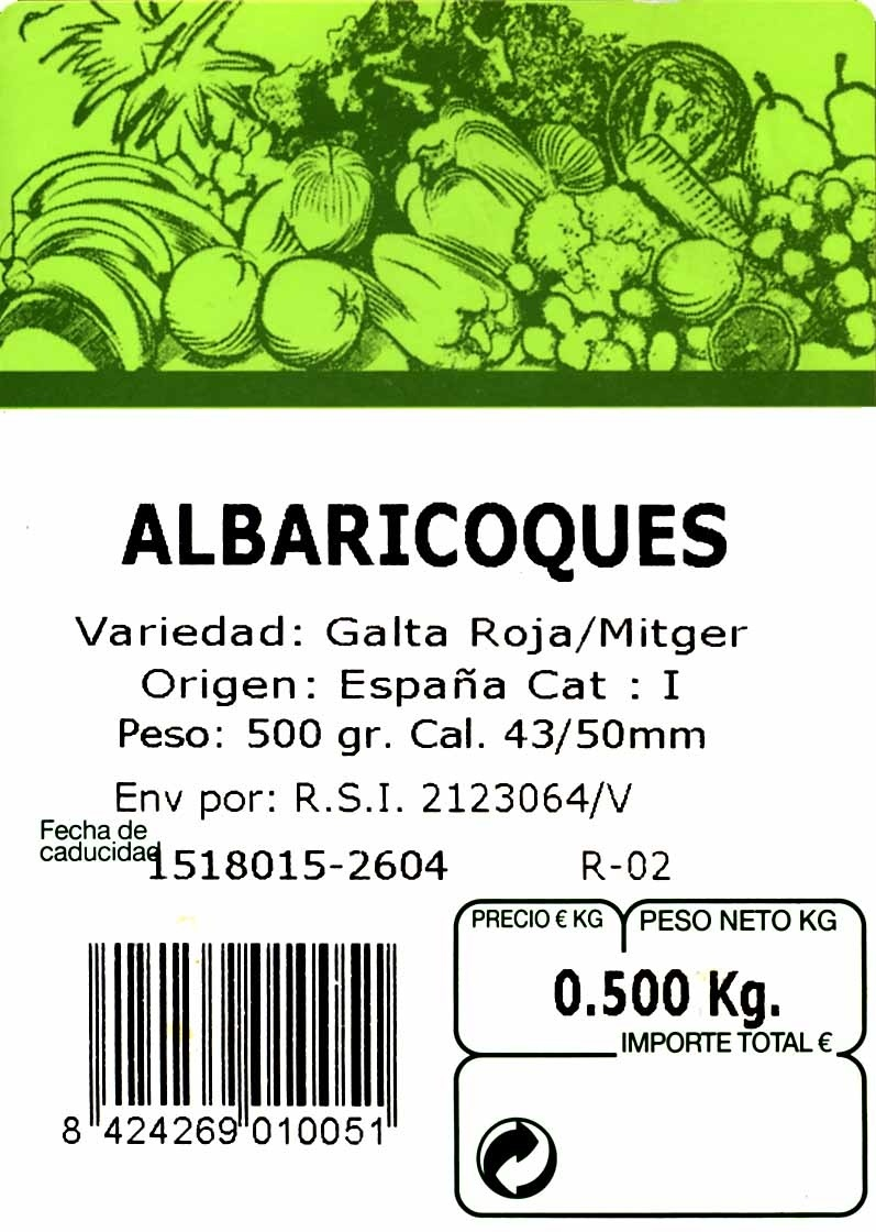 Albaricoques - Ingredients