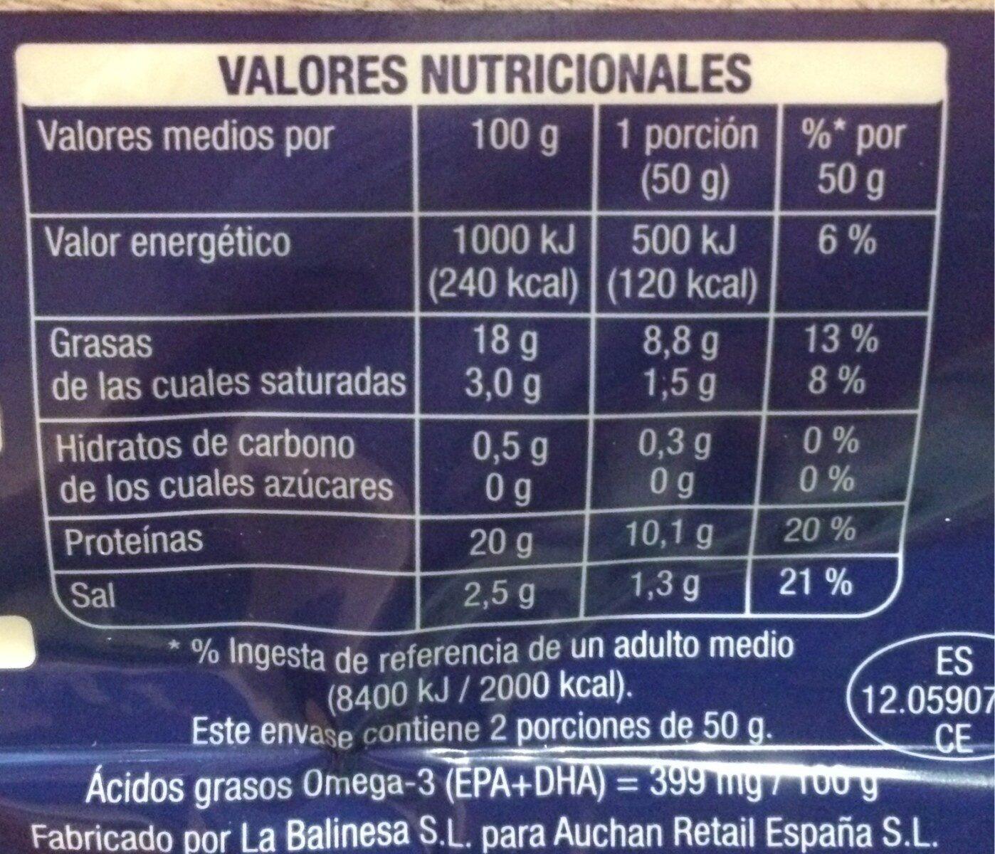 Salmón noruego ahumado - Informació nutricional - es