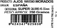 Ajos morados - Ingredients