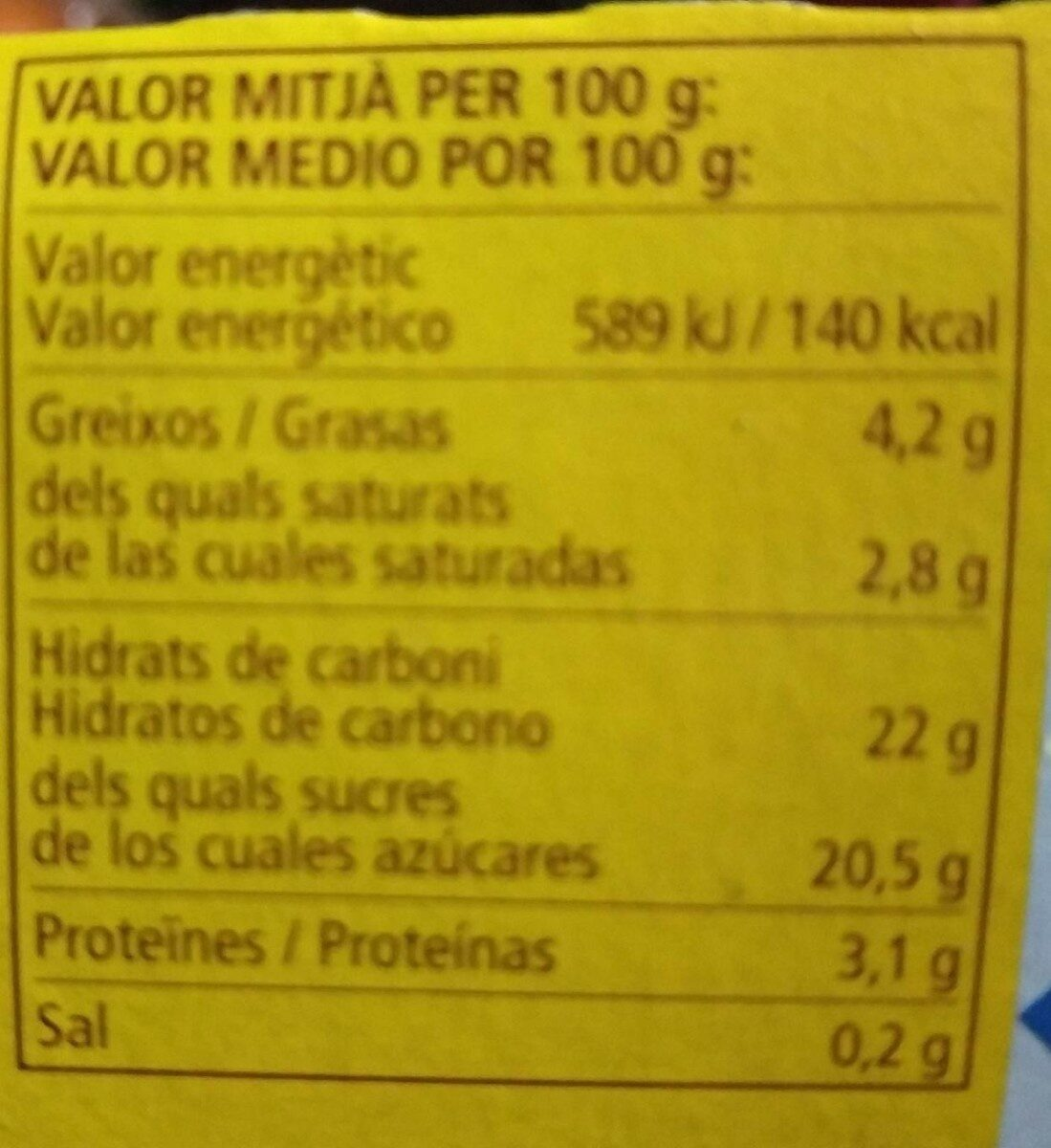 Crema de chocolate - Nutrition facts
