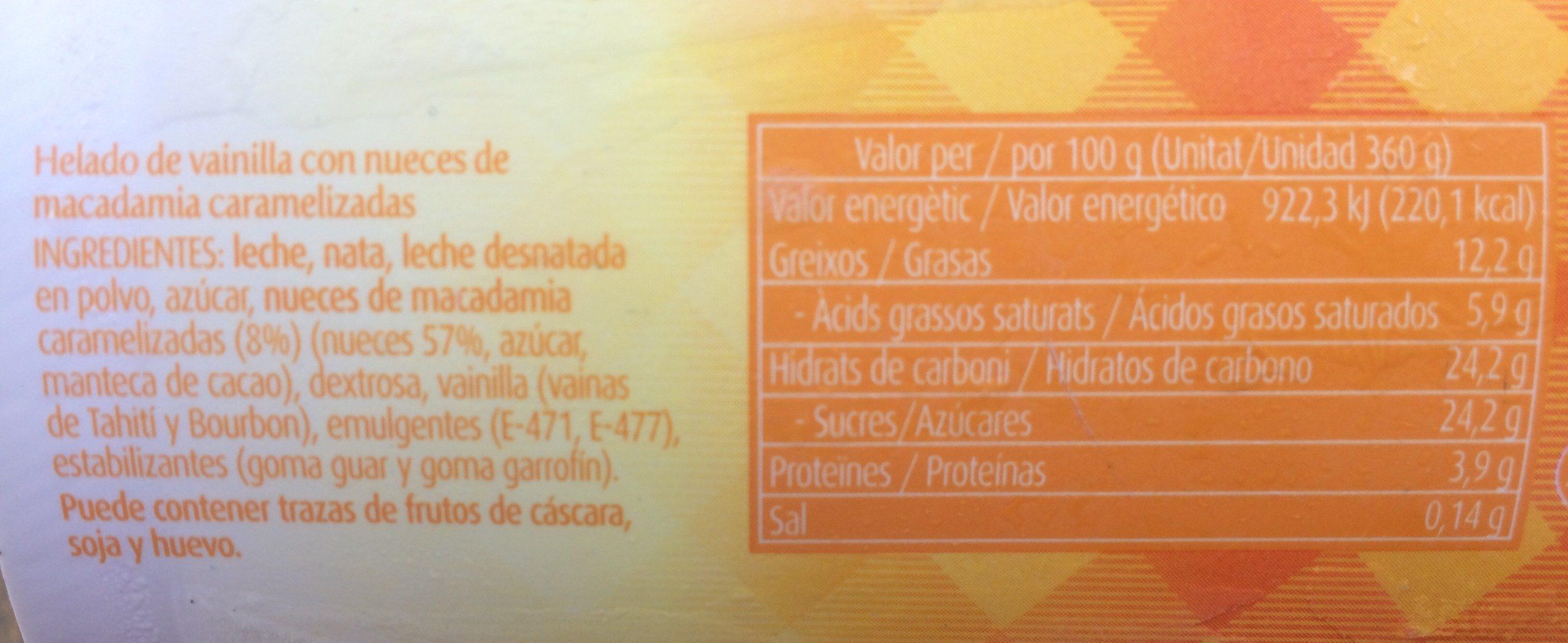 Gelat de vainilla amb nous de macadamia - Ingredientes