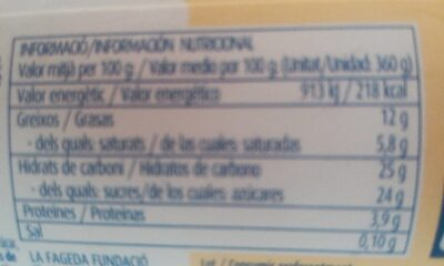 Gelat de vainilla amb nous de macadamia - Informations nutritionnelles - fr