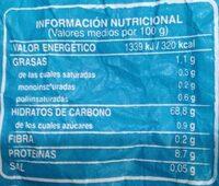 Barra sin sal - Informació nutricional