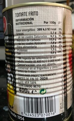 Tomate frito 400 gr. - Informations nutritionnelles