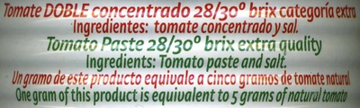 Tomate doble concentrado - Ingredientes