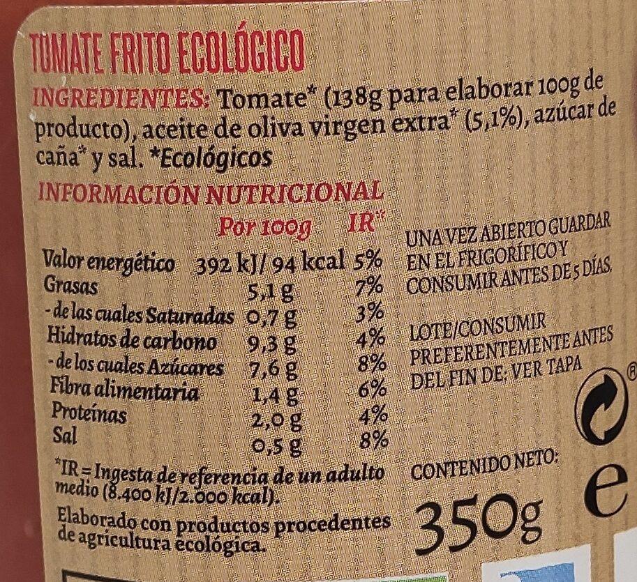 Tomate Frito Ecológico - Ingrediënten - es