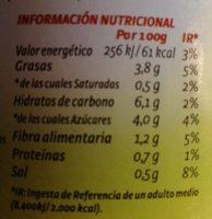 Tomate Pan y listo - Informació nutricional