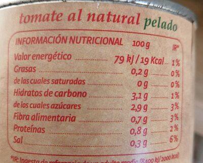 Tomate al natural pelado - Informations nutritionnelles