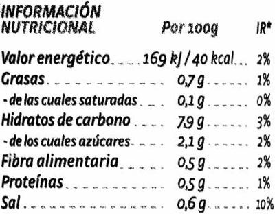 Crema de 7 hortalizas - Información nutricional