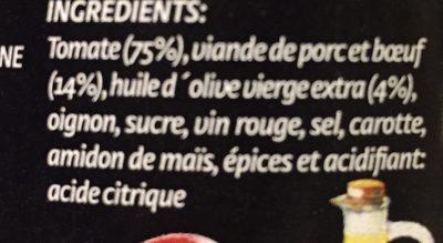 Boloñesa de carne (cristal) 350 gr. - Ingrédients - fr