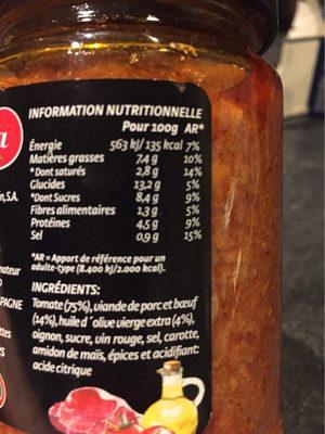 Boloñesa de carne (cristal) 350 gr. - Informations nutritionnelles - fr
