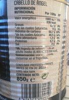 Cabello de angel bote 1 kg. - Nutrition facts - es