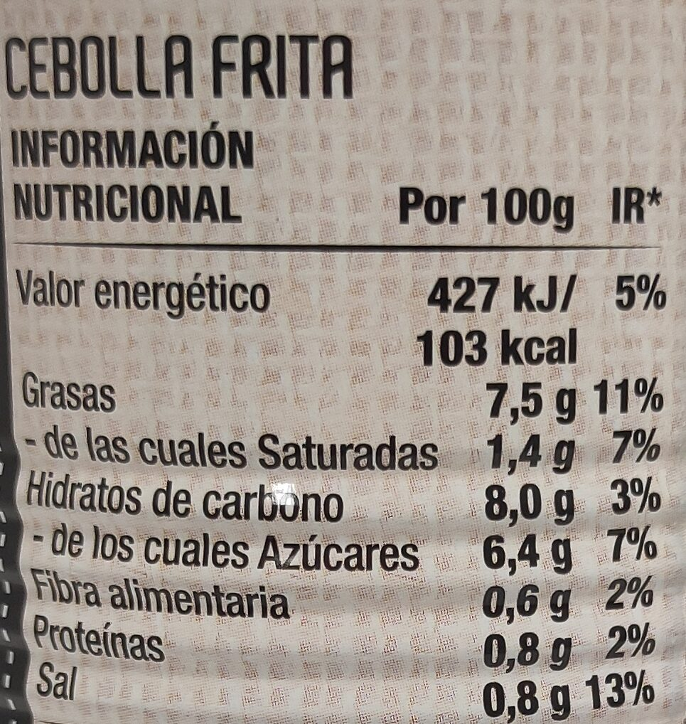 Cebolla frita 6 oz.( packx2) - Informació nutricional - es
