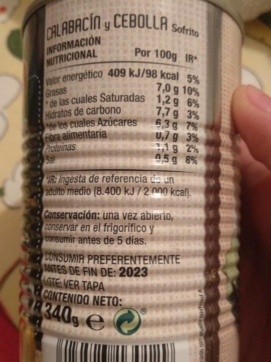 Calabacín y cebolla - Voedigswaarden