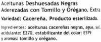 "Aceitunas negras deshuesadas ""Fontoliva"" Variedad Cacereña - Ingrediënten - es"