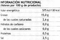 "Aceitunas negras deshuesadas ""Fontoliva"" Variedad Cacereña - Informations nutritionnelles"