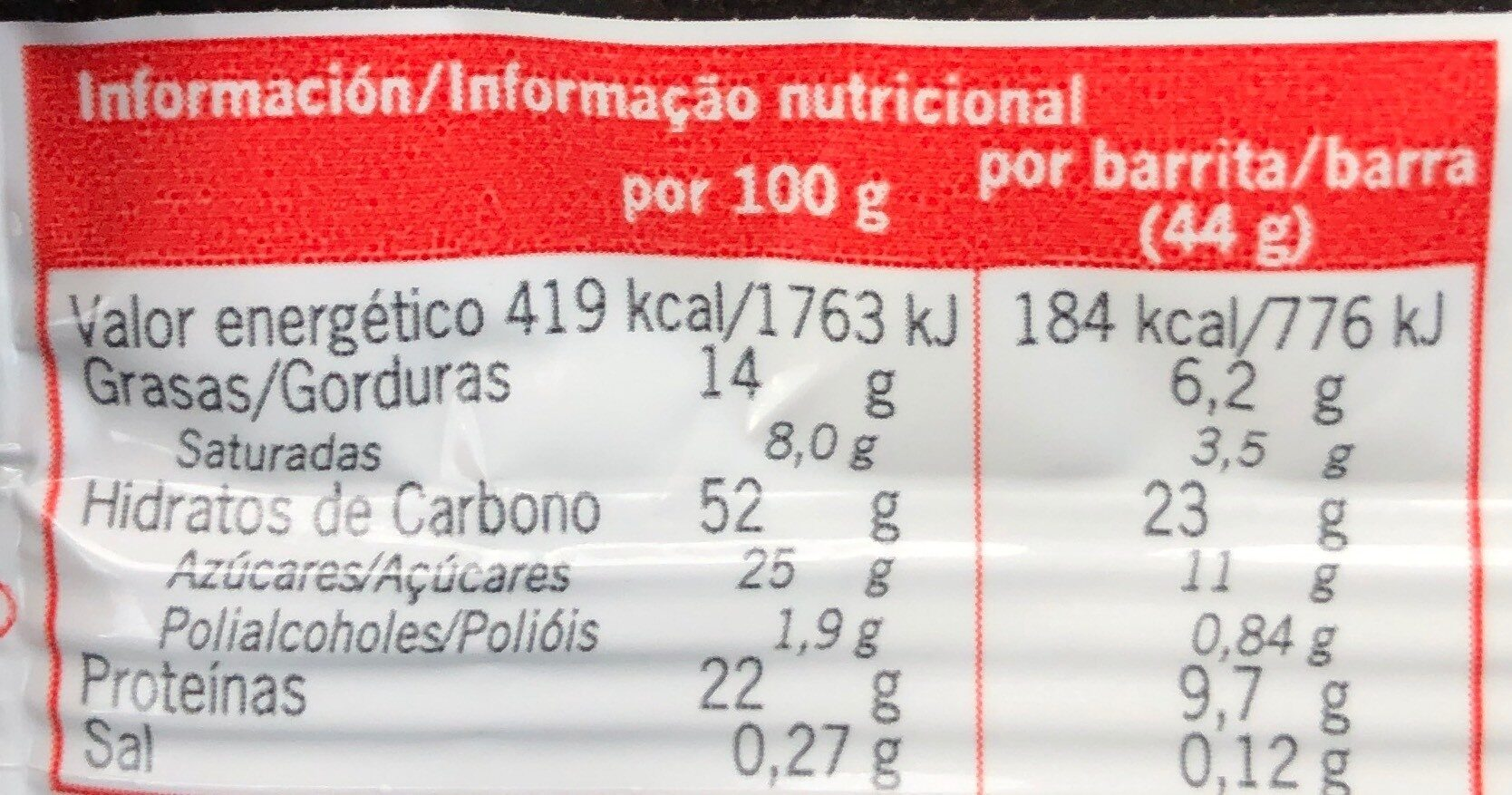 Nutrisport Snack Energètica 24 Units - Voedigswaarden
