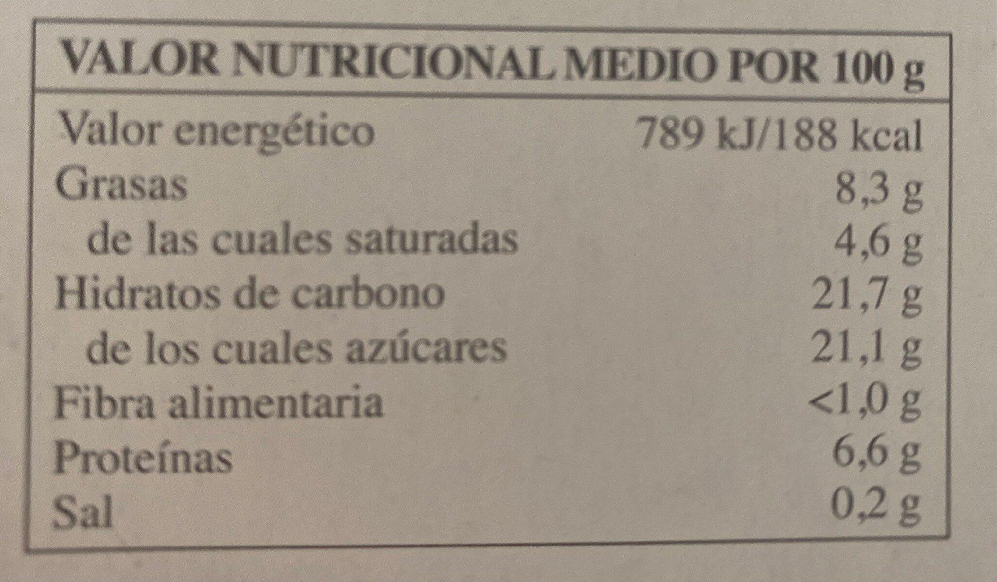 Tarta de queso - Información nutricional - es
