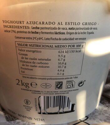 Yogurt artesanal griego - Información nutricional