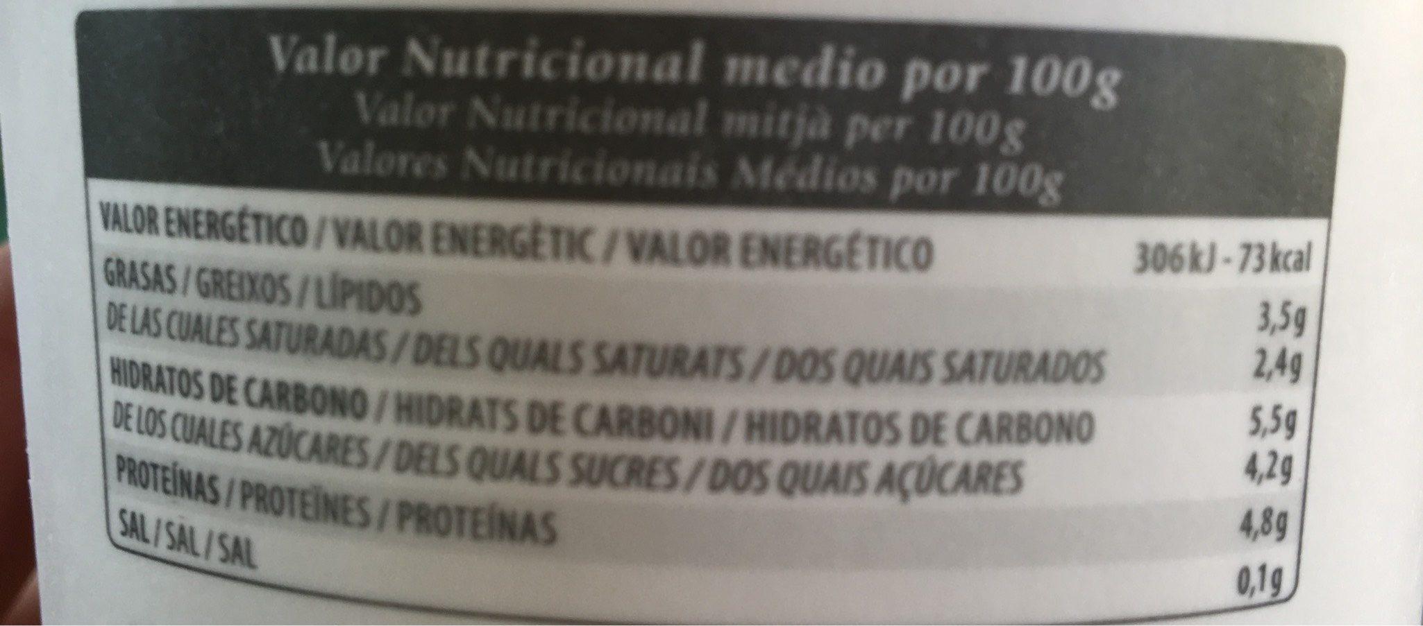 Yogur natural artesanal - Información nutricional - fr