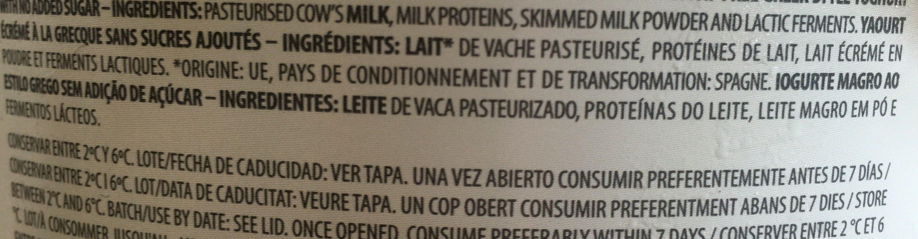Yogur artesanal desnatado - Ingredientes - fr