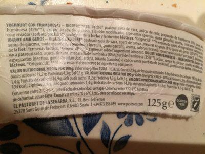 Yogur artesanal frambuesas - Ingredientes