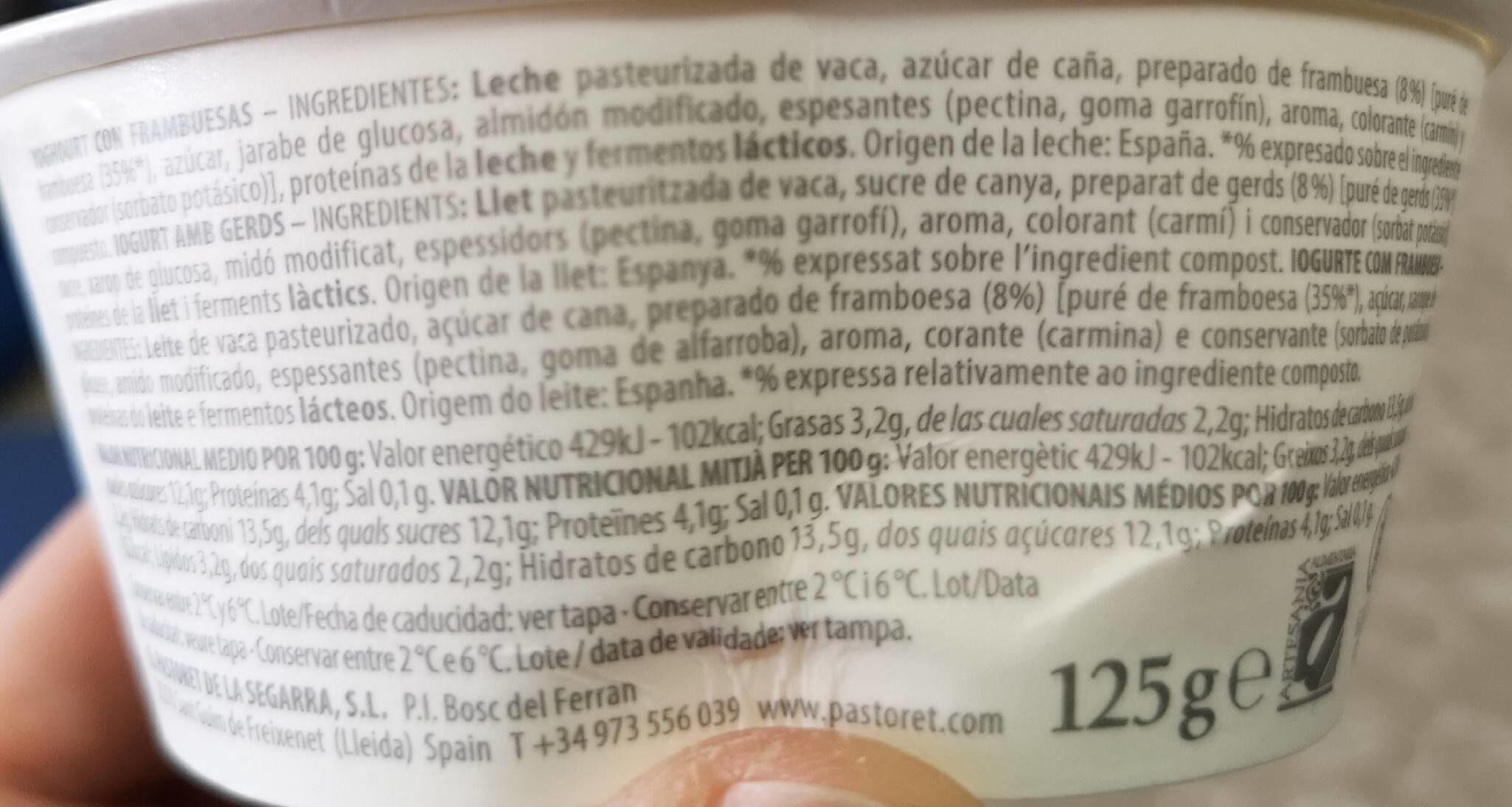 Yogur artesanal cremoso con frambruesas sin gluten - Información nutricional - es