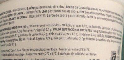 Yogurt Natural con leche de cabra - Información nutricional - es