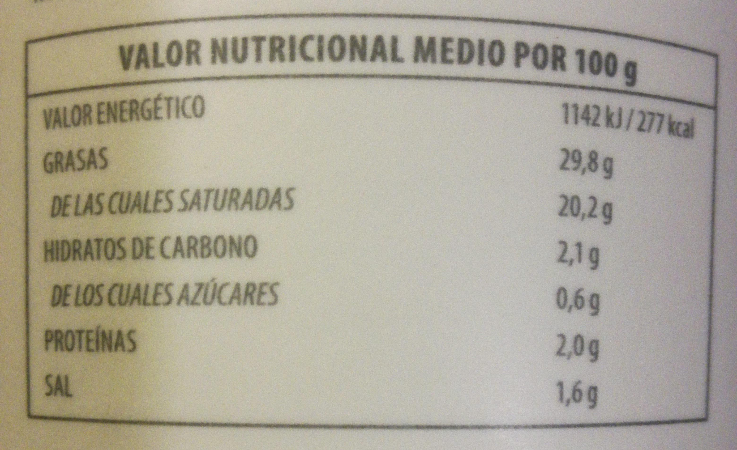 Creme fraiche - Información nutricional