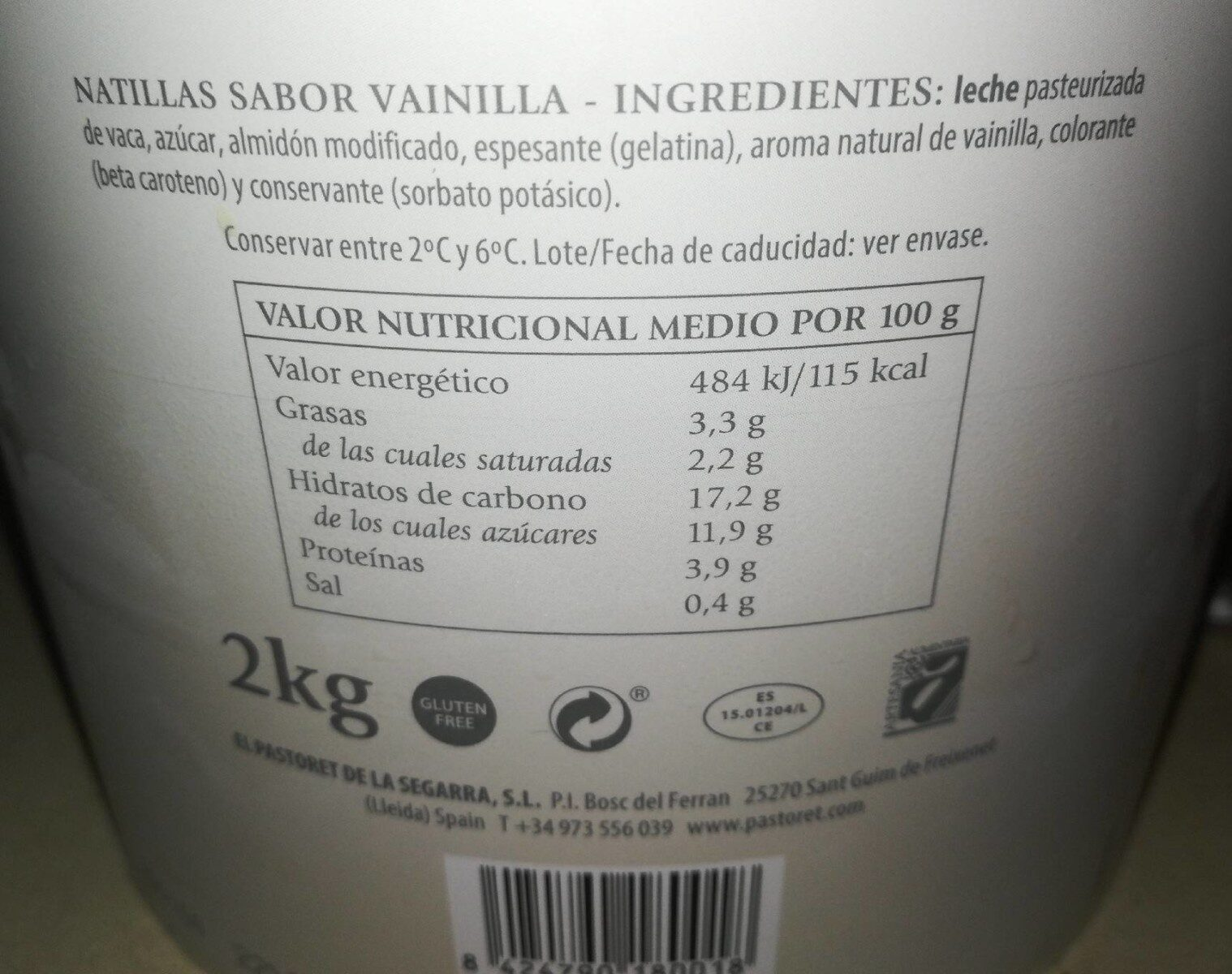Natilles sabor vainilla - Nutrition facts