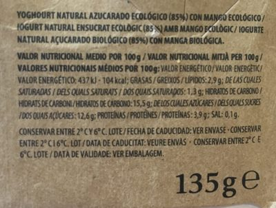 Yogur Ecológico Mango - Ingrédients