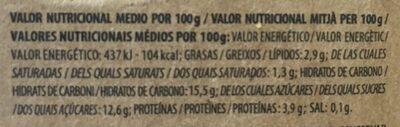Yogur Ecológico Mango - Informations nutritionnelles