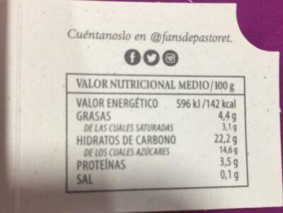 Crema de chocolate y naranja - Información nutricional