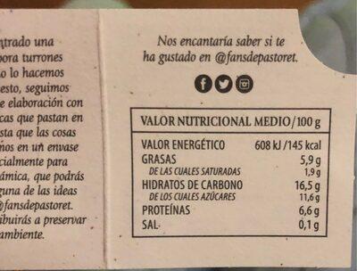 Postre de turrón - Información nutricional - es