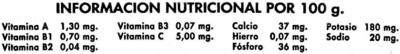Zanahorias - Información nutricional - es
