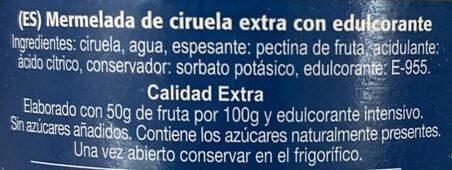 Mermelada de ciruela s/azúcares añadidos - Ingredients