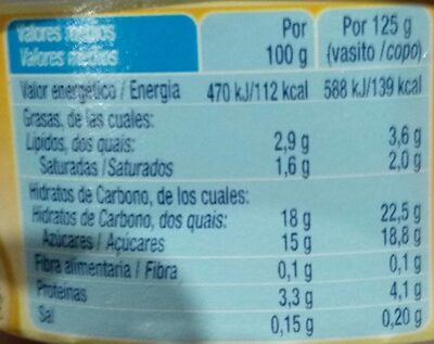 Natillas de vainilla - Informació nutricional