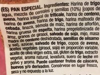 Pan 15 Cereales y Semillas - Ingredientes - es