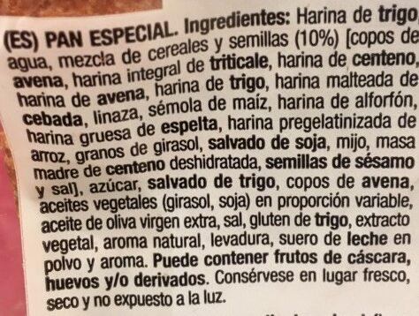 Pan 15 Cereales y Semillas - Ingredients - es