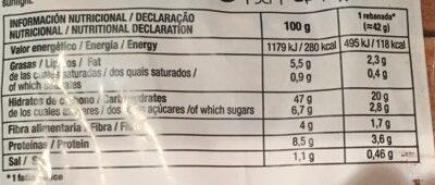 Pan 15 Cereales y Semillas - Información nutricional