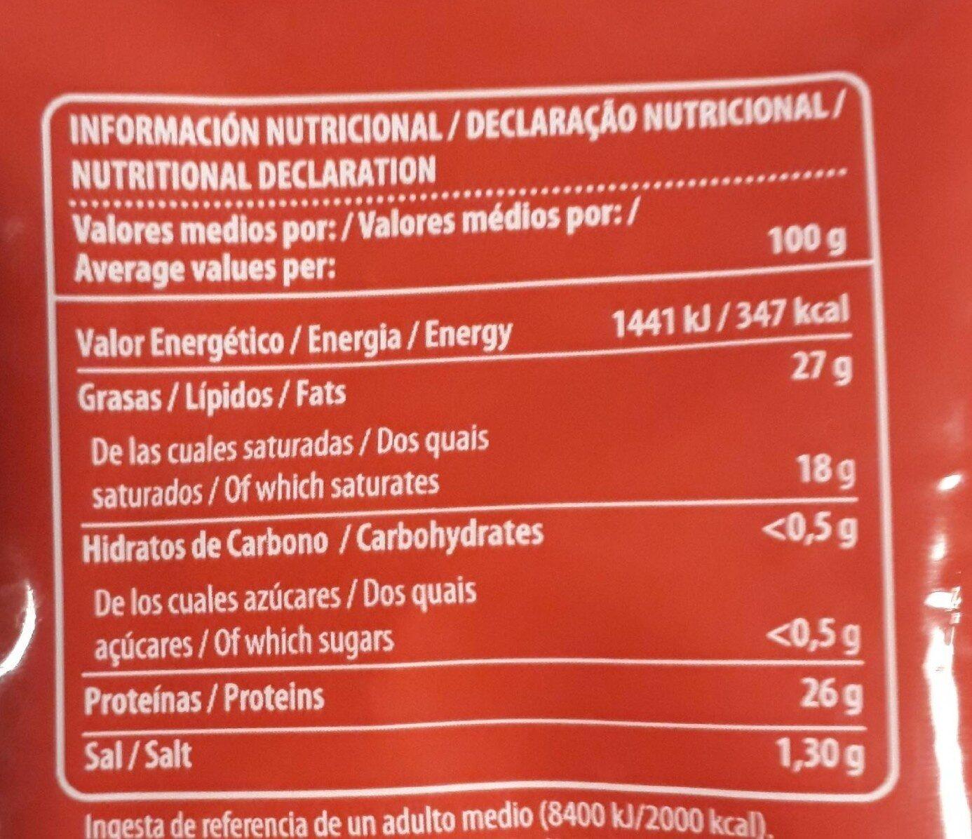 Queso Emmental - Información nutricional