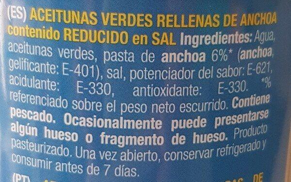 Aceitunas verdes suaves - Ingredients - es